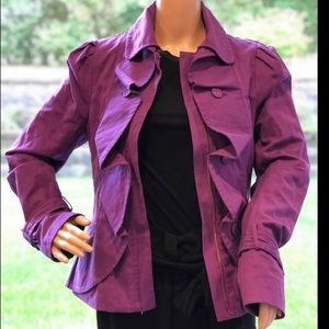 BCBGMaxAzria purple ruffle blazer jacket small